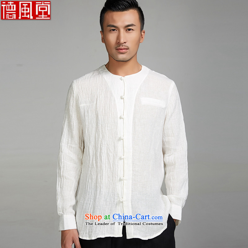 Fudo mute virtual de?2015 new ramie long-sleeved China wind men forming the Tang Dynasty Netherlands youth-neck shirt Chinese clothing White?XXL