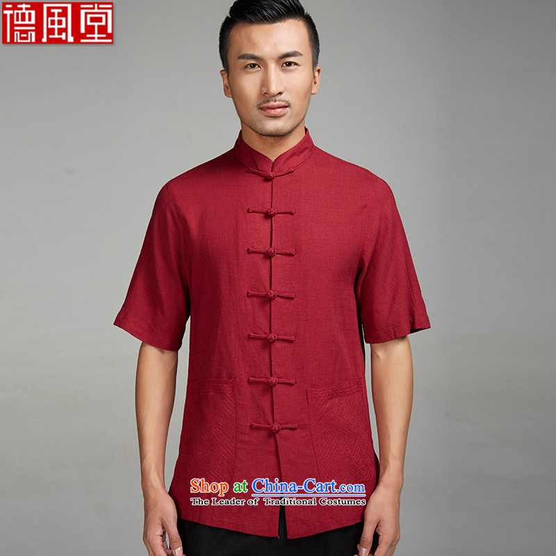 De Fudo Akahi?2015 new cotton linen summer male Tang dynasty short-sleeved ethnic Chinese clothing detained disk manually RED?M