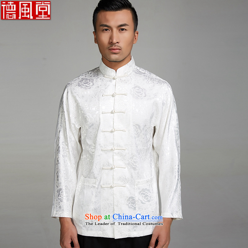 Fudo Mong Kwan Tak�2015 new�100% polyester fitted men's long-sleeved shirt Tang Li Tie side pockets Chinese clothing White�M