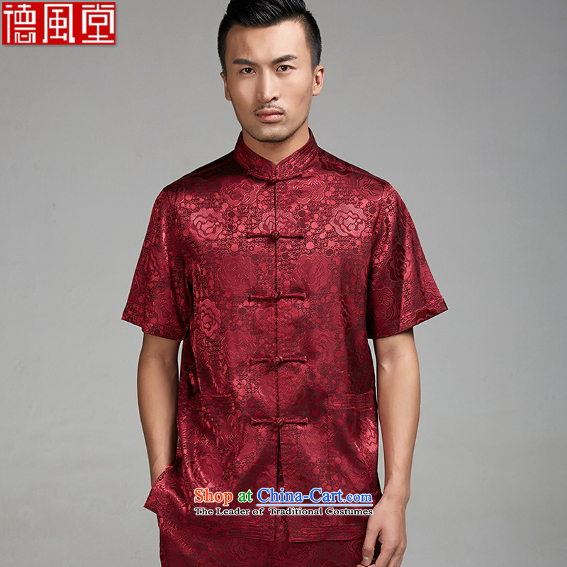 Fudo William De Jun?2015 Summer new? 100%?polyester half sleeve is detained men Tang dynasty short-sleeved ethnic Chinese clothing RED?M