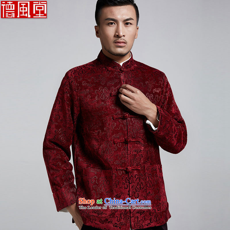 Fudo Ling shouldering the de?2015 autumn and winter gross? Tang dynasty men youth thickness of Chinese jacket jacquard to shoulder turn cuff chestnut horses?4XL