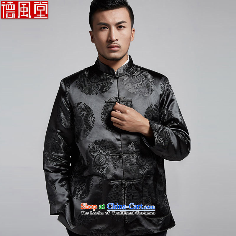 Fudo Lung Chi de?2015 Chinese elderly men Tang dynasty autumn and winter, robe embroidered jacket leisure Chinese clothing black?L