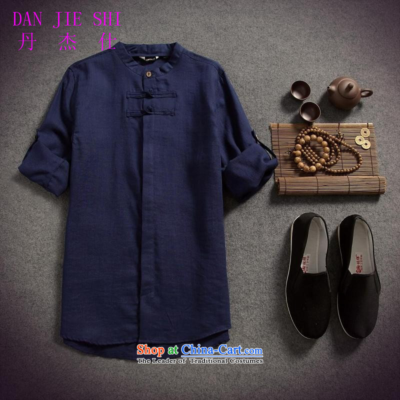 Dan Jie Shi 2015 spring/summer load replacing Men's Shirt cotton linen flax male disc allotted seven points sleeved shirt shirt original China wind Sau San, Navy?XXL