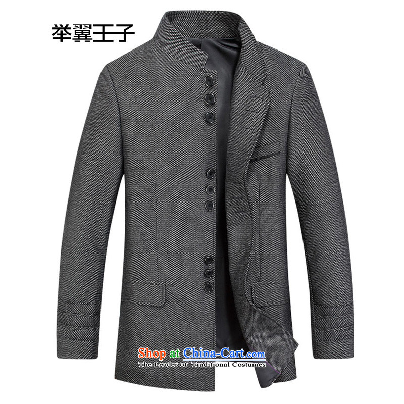Move wing Prince Chinese tunic male replacing Chinese Antique suit during the spring and autumn New Men's Mock-Neck wool is     jacket gray聽175_48