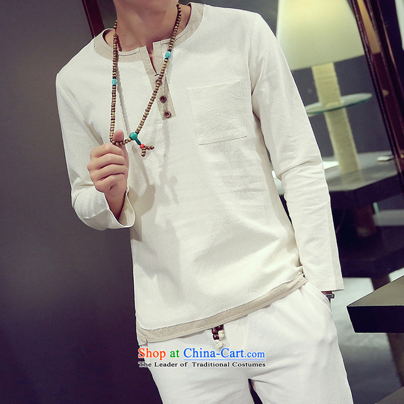 2015 men's long-sleeved T-shirt with flax shirt men fall China wind men long-sleeved loose cotton linen large flows of Tang Dynasty compassionate forming the Netherlands?401 White?M