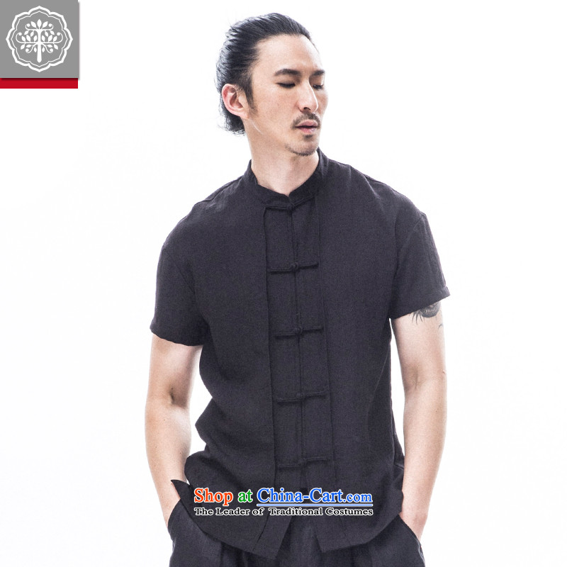 To Tang dynasty tree short-sleeved Han-Male Male Male summer shirt Kung Fu Men's Shirt China wind Hyun?175_L color