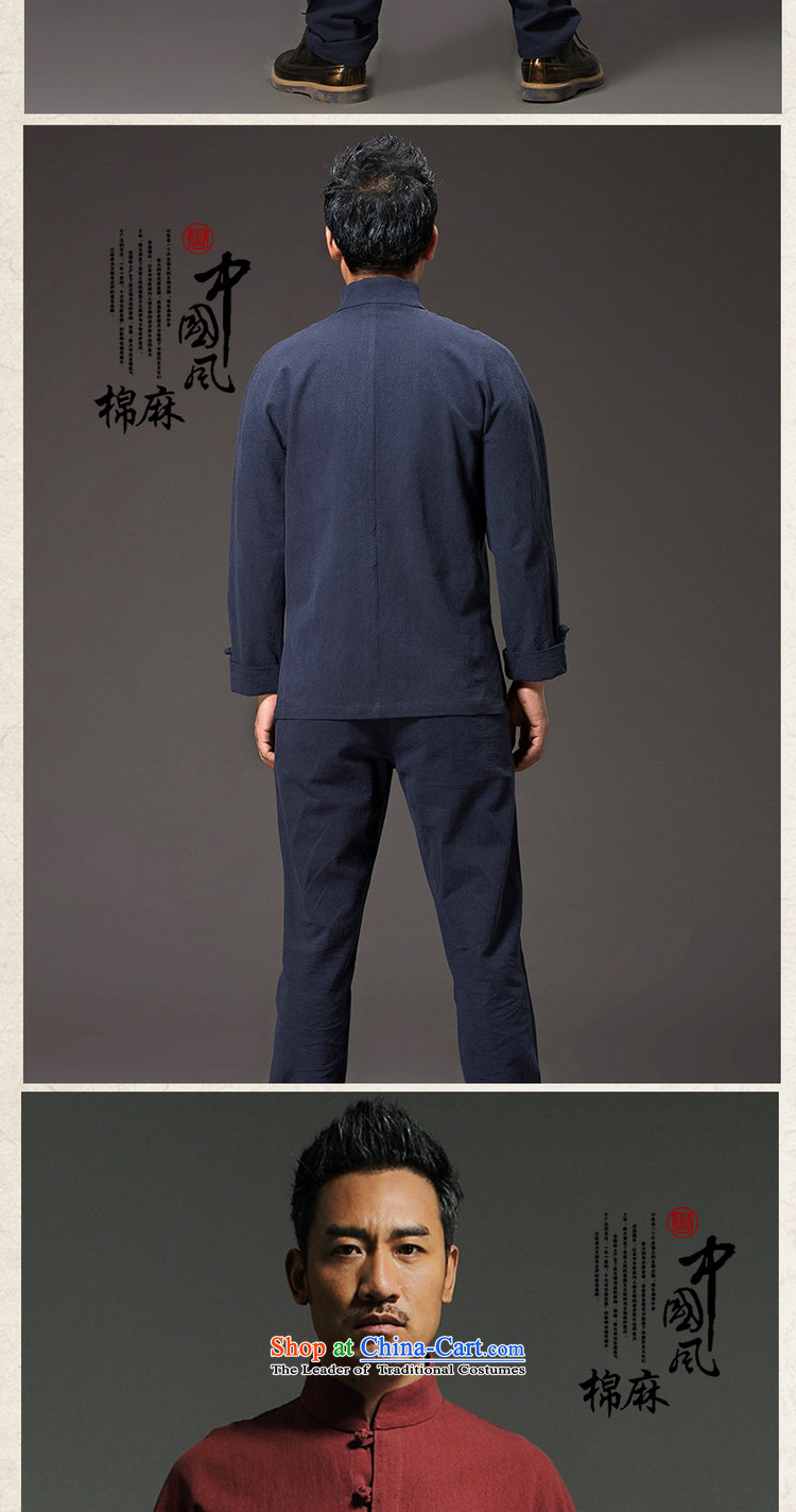 Renowned China wind men Tang dynasty cotton linen garments of ethnic Chinese shirt men Sau San disk tie china long sleeved shirt collar kung fu shirt red XXL picture, prices, brand platters! The elections are supplied in the national character of distribution, so action, buy now enjoy more preferential! As soon as possible.
