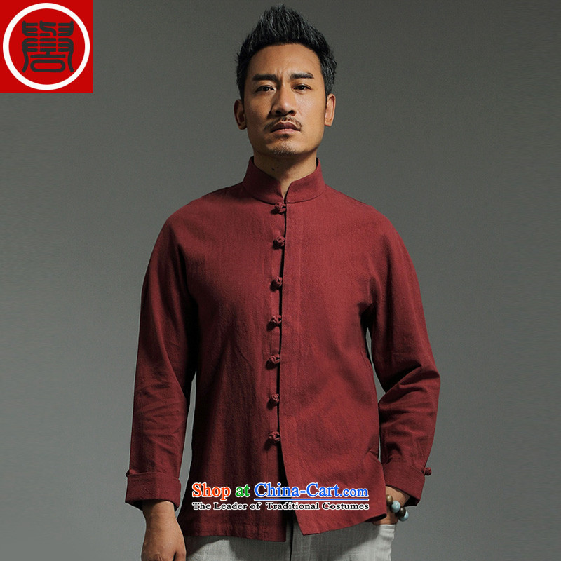 Renowned China wind men Tang dynasty cotton linen garments of ethnic Chinese shirt men Sau San disk tie china long sleeved shirt collar kung fu shirt red聽XXL