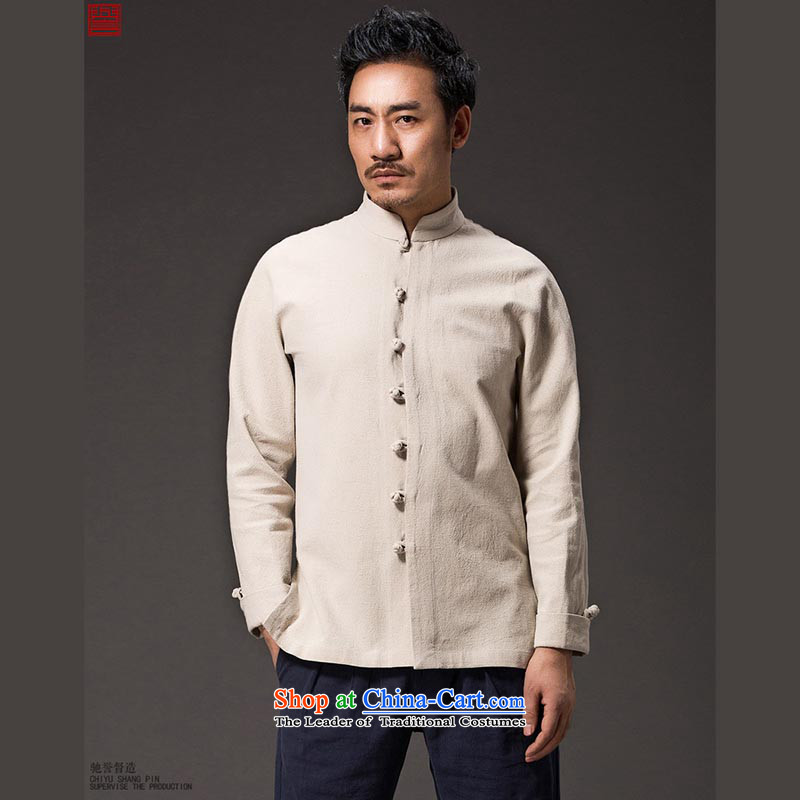 Renowned China wind men Tang dynasty cotton linen garments of ethnic Chinese shirt men Sau San disk tie china long sleeved shirt collar kung fu shirt red XXL, renowned (CHIYU) , , , shopping on the Internet