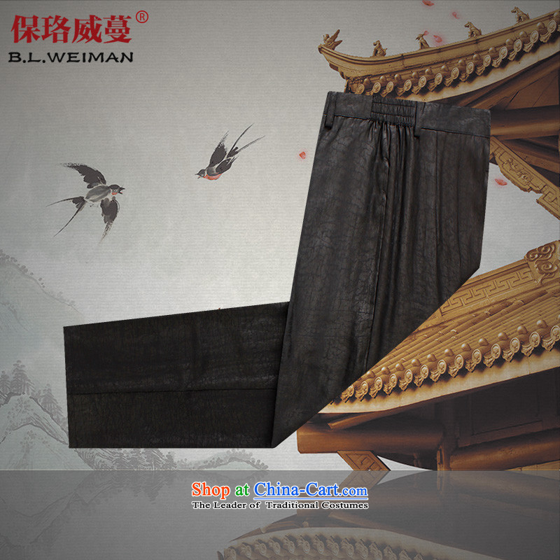 The Lhoba nationality Wei Overgrown Tomb summer UNPROFOR men's trousers 100 Tang dynasty silk incense cloud yarn China Wind Pants Father Summer Scent cloud yarn casual pants black 2XL