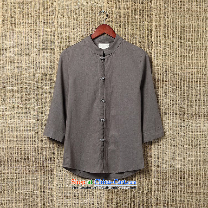 Dan Jie Shi Men summer men Tang dynasty China wind collar disc loose ties in men's shirts older kung fu shirt larger shir 9 color gray rocks聽4XL