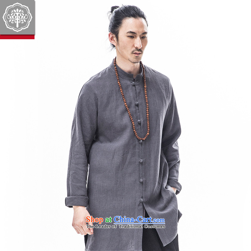 To Tree Han-improved long-sleeved sweater cotton linen men in long Tang dynasty China wind聽180_XL Gray