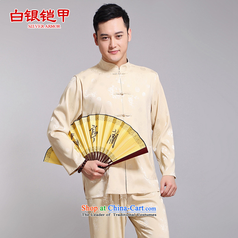 Silver armor Tang dynasty men's summer Tang dynasty male Kit Han-long-sleeved China wind up the clip in silk manually older Chinese men yellow 175