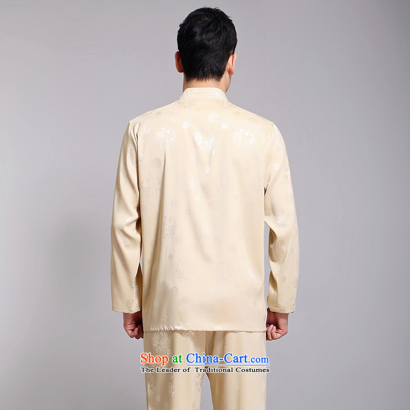 Silver armor Tang dynasty men's summer Tang dynasty male Kit Han-long-sleeved China wind up the clip in silk manually older Chinese men yellow聽175 silver Armor , , , shopping on the Internet