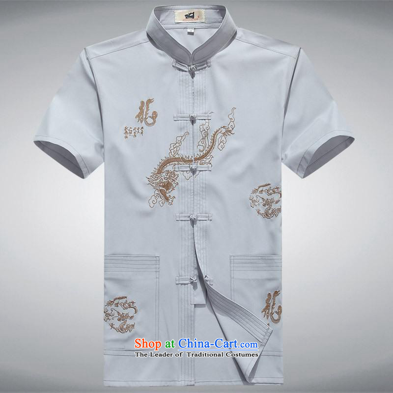 Hundreds of brigade bailv summer Stylish slim plate fasteners leisure Short-Sleeve Mock-Neck Shirt comfortable white 190