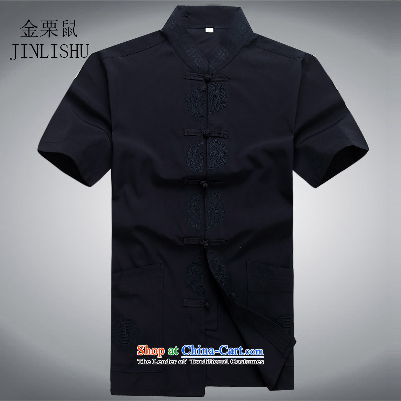 In 2015 the new elderly men Tang dynasty kanaguri mouse male short-sleeved Chinese men casual Tang Dynasty Package blue shirt?XXL