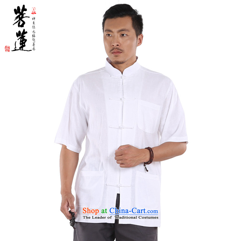 On Lin cotton linen services retreat Flex-cotton men low short-sleeved zen ball leisure China wind national yoga track suit Pure White燲L