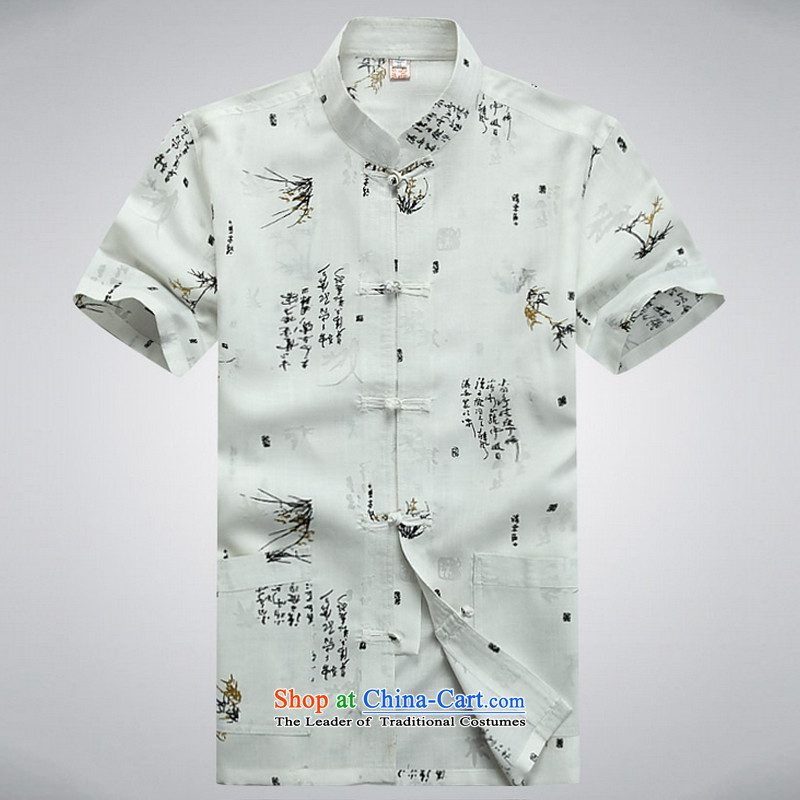 2015 New Tang Dynasty Chinese tunic summer short-sleeved larger linen china wind national costumes YYY1250YZ White?170