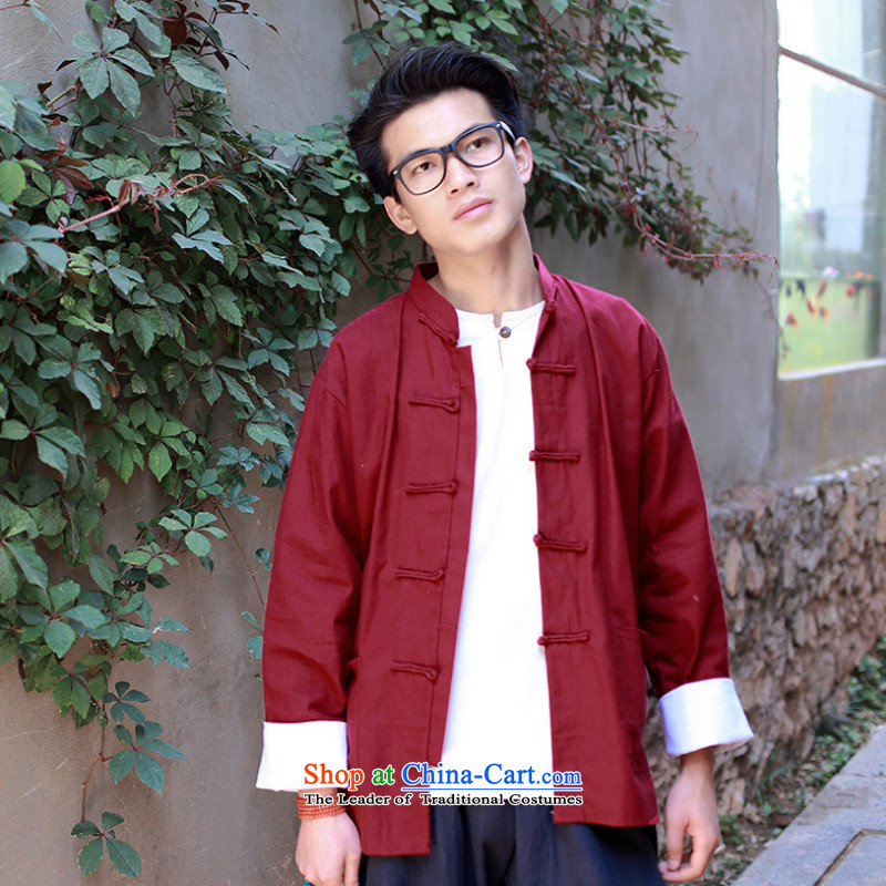 2015 New Tang Dynasty Chinese tunic summer national wind on the badges of Yi long-sleeved jacket shirt clip disc Tang dynasty cotton linen coat YYY1254YZ RED聽XXL