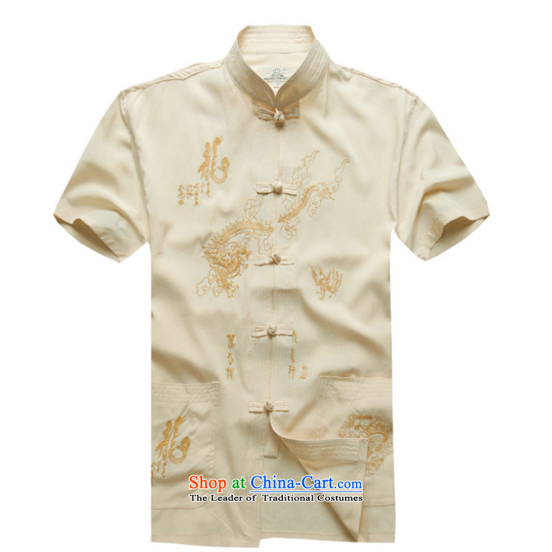 2015 New Tang Dynasty Chinese tunic summer older short-sleeved shirt ethnic men YYY1255YZ Tai Lung rice white 41