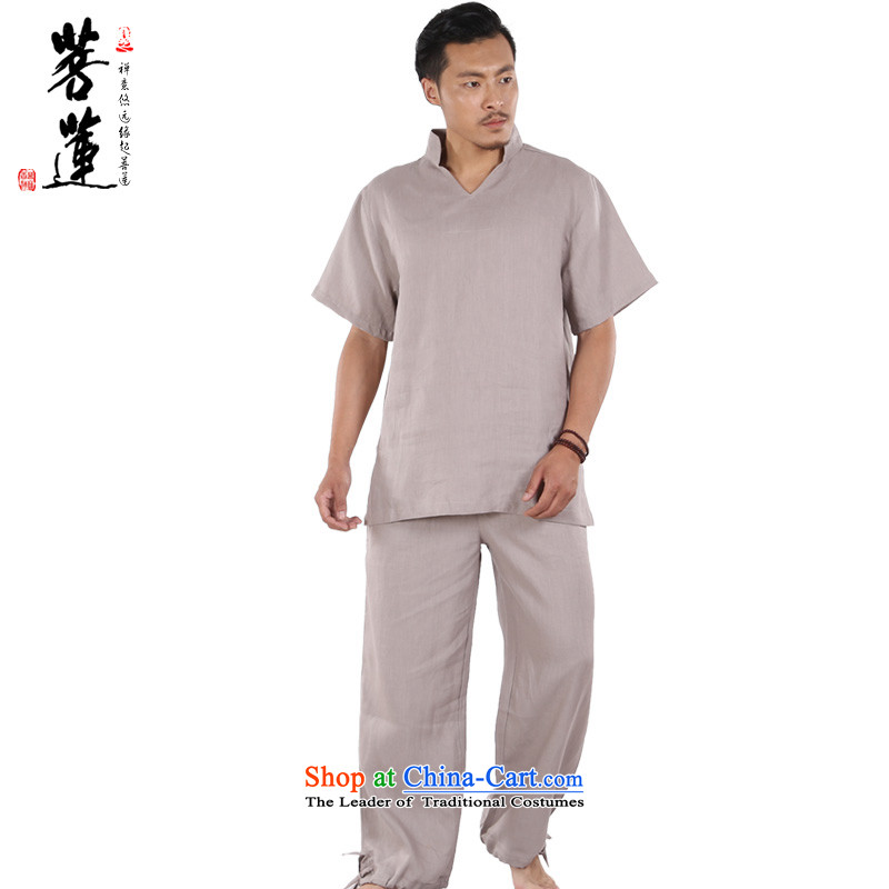 On Lin Yi pure cotton linen retreat linen men Short Sleeve V-Neck meditation meditation China wind-tai chi yoga in gray燲L