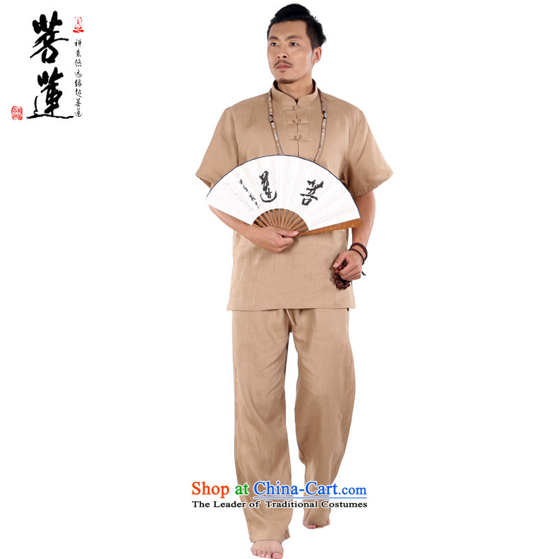 The pursuit of natural linen Lin Men short-sleeved dulls) meditation meditation ball-China wind yoga tai chi services khaki?S