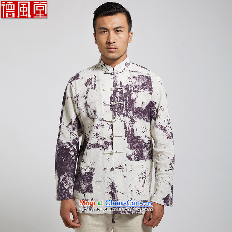 Fudo ink Jun De 2015 new 100% Cotton Men Tang Dynasty Chinese long-sleeved shirt collar shirt with side pockets first White XL