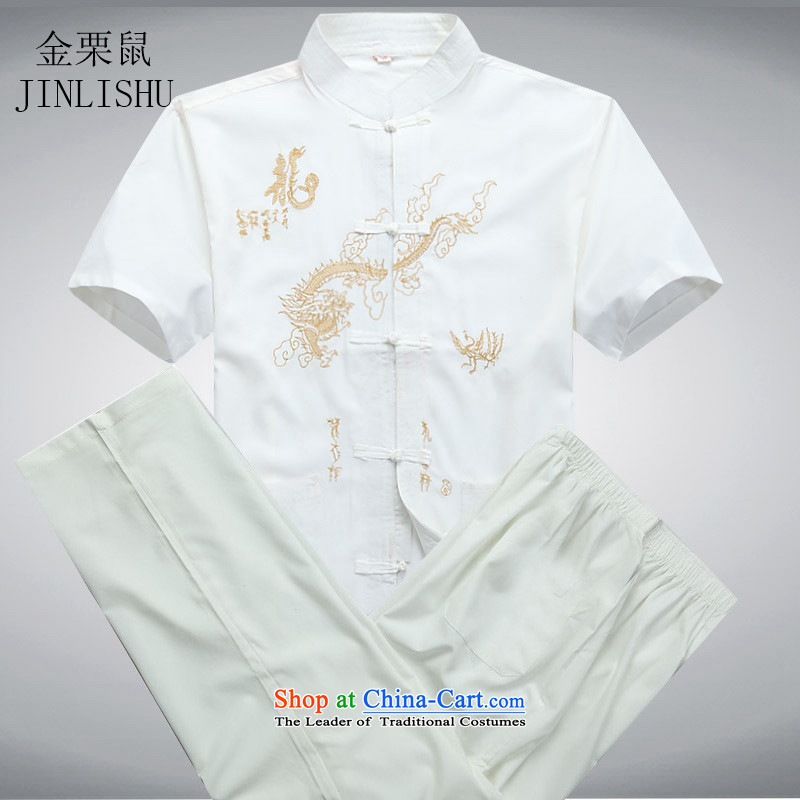 Kanaguri mouse in older men short-sleeved Tang dynasty summer elderly men improved Tang dynasty middle-aged white kit installed father聽L