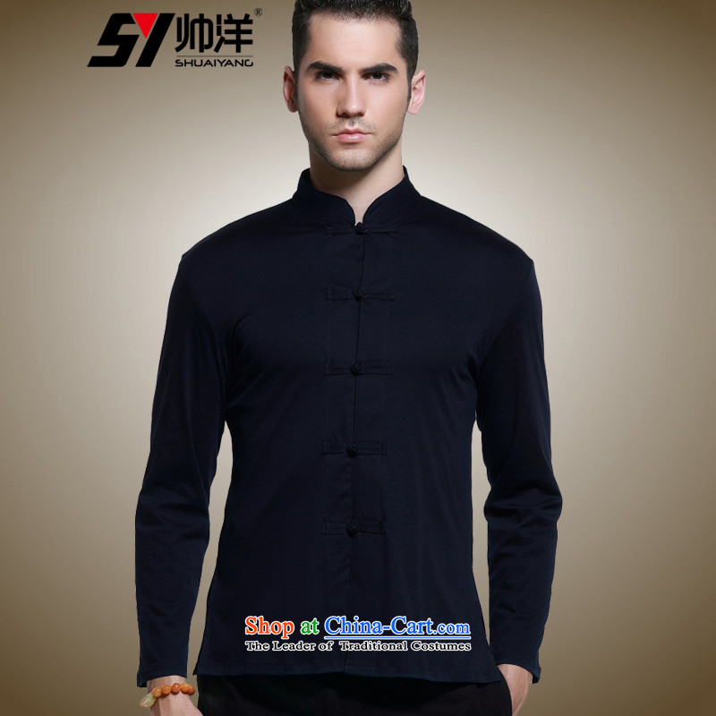 2015 Autumn decorated in cool ocean as men Tang dynasty China wind long sleeved shirt collar men's shirts, cotton, forming the Chinese Navy 42/180