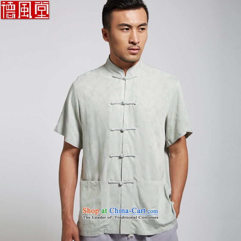 Fudo de Feng Hua?2015 Summer New Cotton Men Tang Dynasty Chinese clothing short-sleeved green?XL