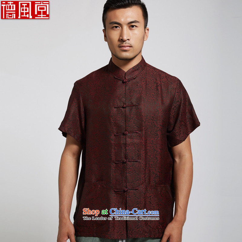 De Fudo cloud-聽summer 2015 new cloud of incense yarn men Tang dynasty short-sleeved Chinese clothing dark red聽XL