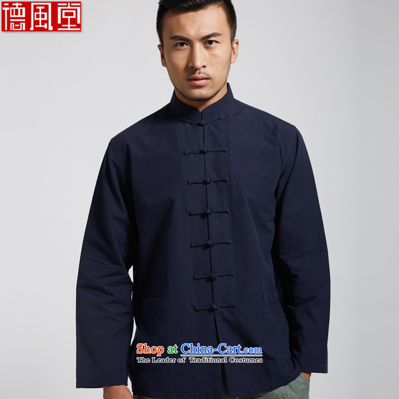 De Fudo mass in?spring and autumn 2015 long-sleeved shirt New Men Tang Dynasty Chinese clothing deep blue long-sleeved?L