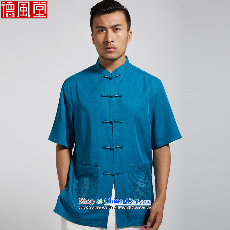 De Fudo 61-56?2015 Summer new herbs extract men Tang dynasty short-sleeved manually disc detained Chinese clothing lake blue?XL