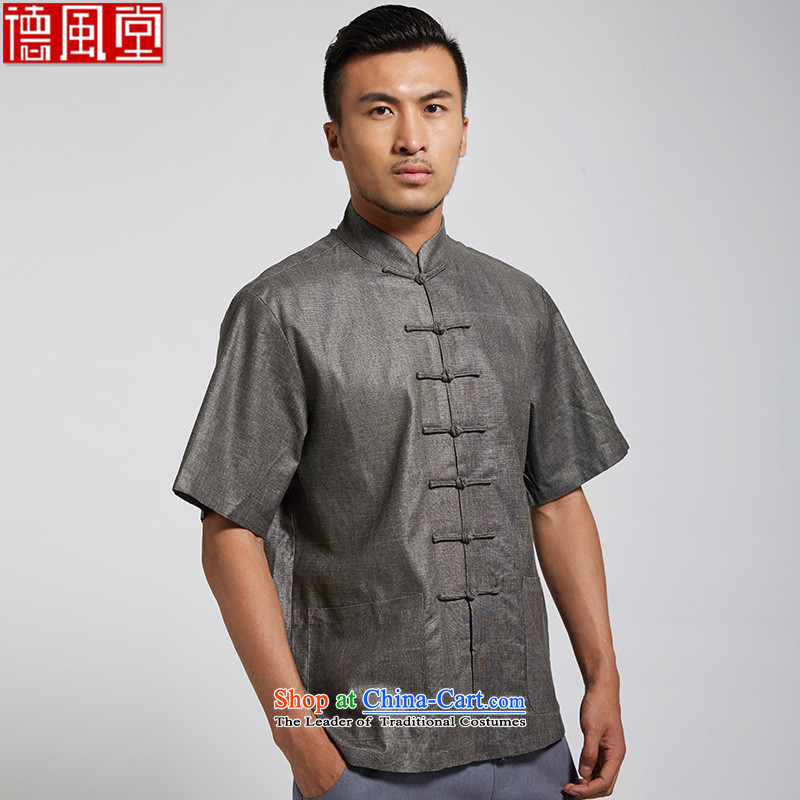 De Fudo Diligence 2015 Summer cotton linen men Tang dynasty short-sleeved traditional style seven detained on Chinese clothing dark gray XL