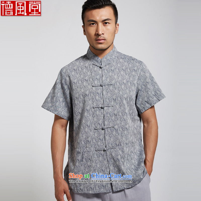 Fudo Philip de Dumping 2015 summer short-sleeve 100_ Cotton Men Tang Dynasty Chinese clothing short-sleeved gray XL