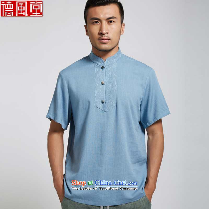 Fudo man of de?2015 Summer linen men Tang dynasty China wind short-sleeved blue?L_165 Chinese Clothing