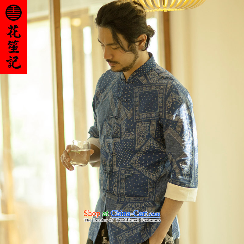 His Excellency flower note China wind the retreat of national men yi cotton linen collar tray clip Chinese national wave of nostalgia for the shirts National Alliance large _L_