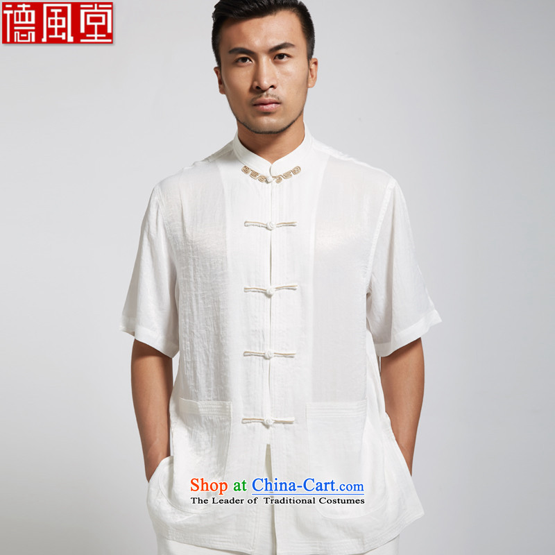 Fudo Chi-taek de?2015 Summer polyester men Tang Dynasty Chinese clothing short-sleeved shirt short-sleeved light and comfortable white?L