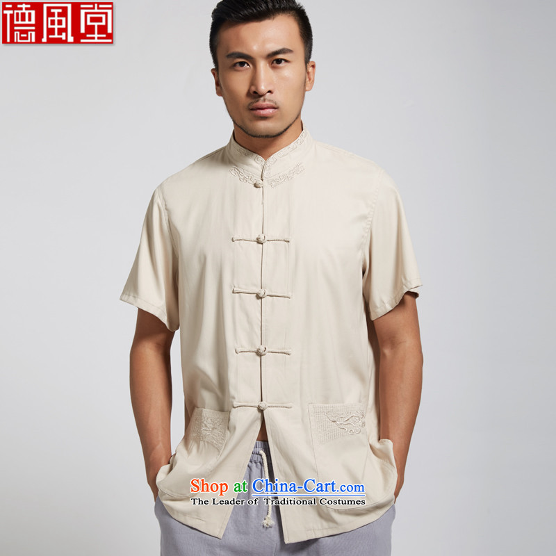De Fudo aggression in 2015 Summer polyester men Tang Dynasty Chinese clothing short-sleeved shirt with tie Chinese in ROM older men Yellow XL