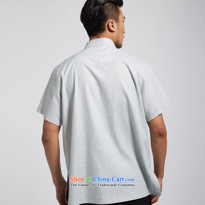 Fudo daughter and de聽2015 Summer linen men Tang dynasty short-sleeved Chinese clothing China wind light blue聽XXXL, de fudo shopping on the Internet has been pressed.
