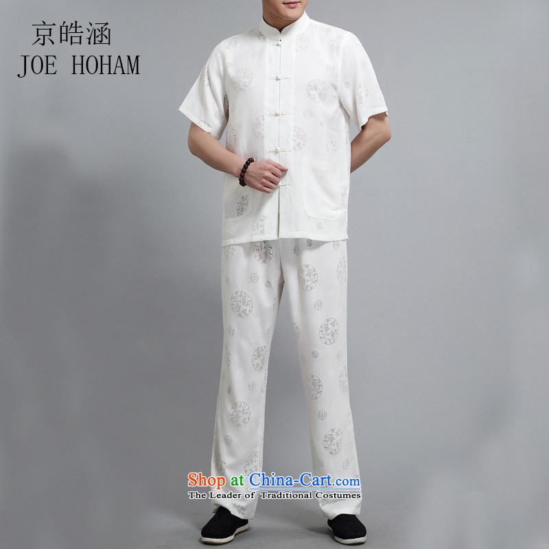 Kyung-ho, the elderly in the new covered by the summer of Tang Dynasty men linen tunic suit China wind Linen Dress Short-sleeved white L