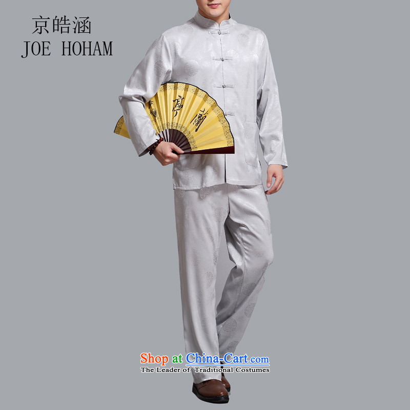 Kyung-ho covered by the Tang Dynasty Package male Han-China wind men aged Chinese summer long-sleeved national costumes Light Gray?L