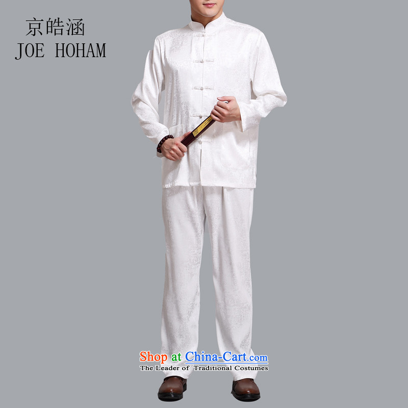 Kyung-ho covered by China wind summer Tang dynasty male cotton men of older persons in long-sleeved Chinese tunic Han-tai chi service kit father White聽XL