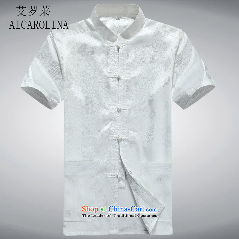Hiv Rollet men short-sleeved shirt national Dress Shirt summer collar middle-aged men White?M