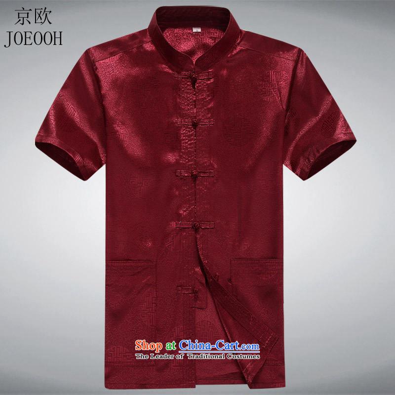 Beijing Summer Europe men short-sleeved Tang Dynasty Han-short-sleeved Tang Tang dynasty in older men short-sleeved Tang Dynasty New RedS, Putin (JOE OOH) , , , shopping on the Internet