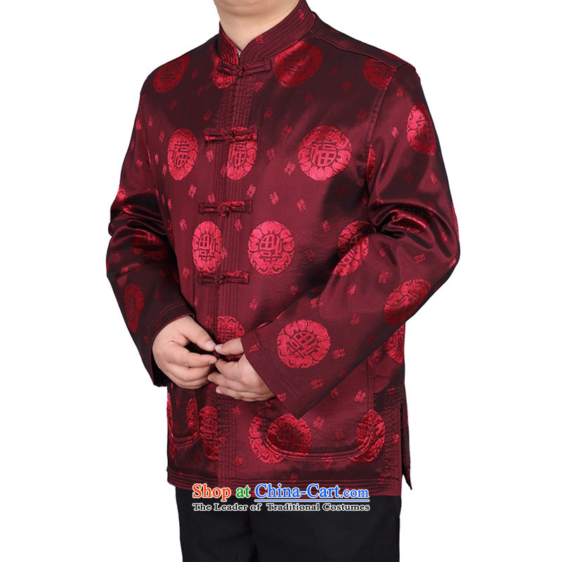 Kanaguri Mouse China wind spring new Tang Dynasty Chinese father of men and the elderly in the jacket of the Tang dynasty field red T-shirt聽, L kanaguri mouse (JINLISHU) , , , shopping on the Internet
