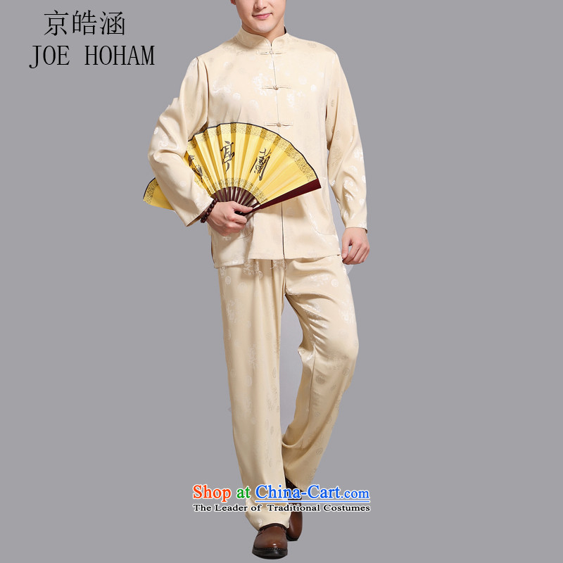Kyung-ho covered by middle-aged men long-sleeved summer Tang dynasty shirt that elderly father grandpa load from hot collar long-sleeved Kit Gold?L
