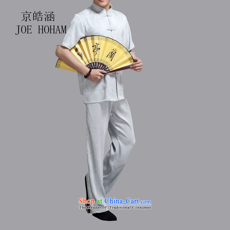 Kyung-ho covered by men Tang Dynasty Package short-sleeved of older persons in the Men's Shirt pants grandpa summer father blouses Light Gray?L