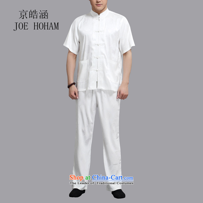 Kyung-ho Tang dynasty summer covered by male China wind short-sleeved T-shirt shirt that elderly father Han-morning practice replacing packaged?XXXL White