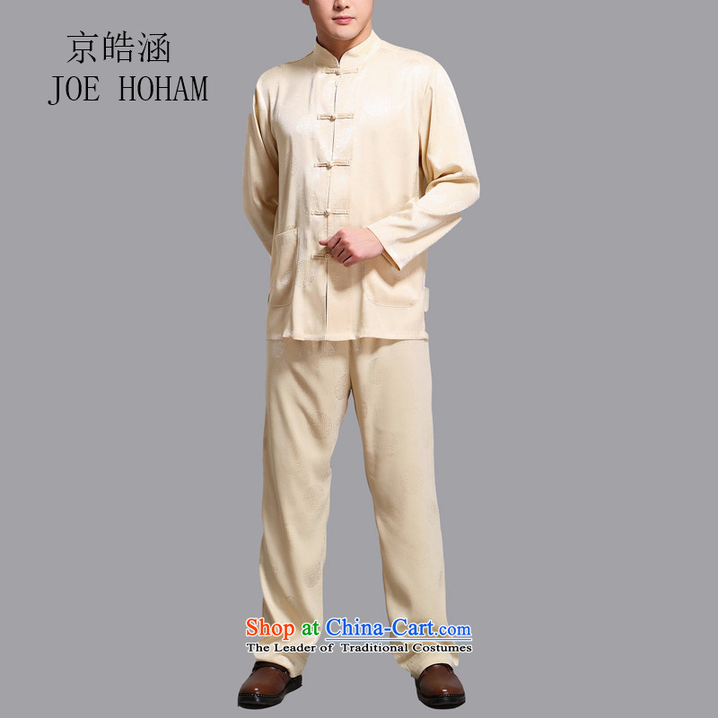 Kyung-ho covered by men Tang Dynasty Package long-sleeved of older persons in the Men's Shirt pants grandpa summer father jackets gold�L